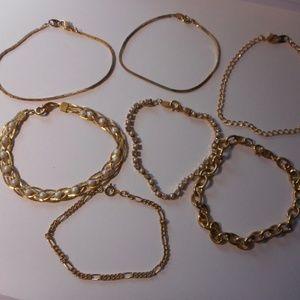 Avon Trifari Gold Tone Chain Bracelet Lot
